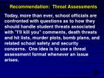recommendation threat assessments