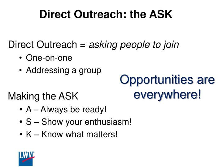 Direct Outreach: the ASK