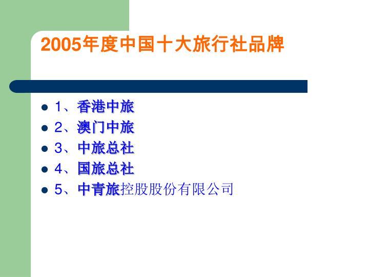 2005年度中国十大旅行社品牌
