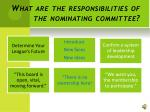 what are the responsibilities of the nominating committee