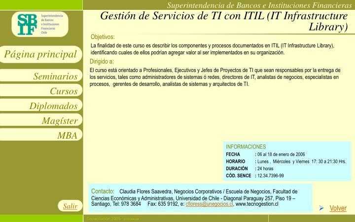 Gestión de Servicios de TI con ITIL (IT Infrastructure Library)