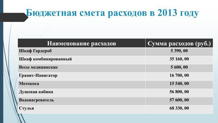 Бюджетная смета расходов в 2013 году