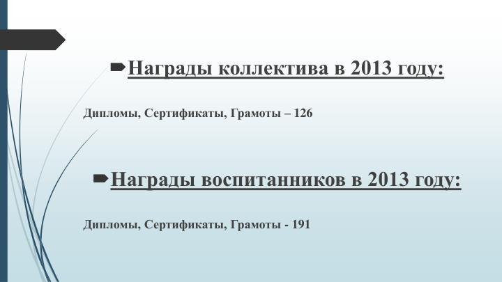 Награды коллектива в 2013 году: