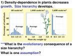 1 density dependence in plants decreases growth size hierarchy develops