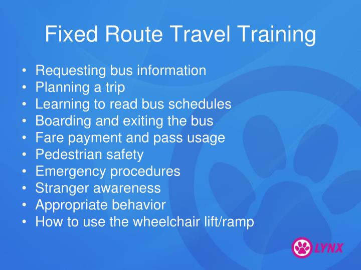 Fixed Route Travel Training