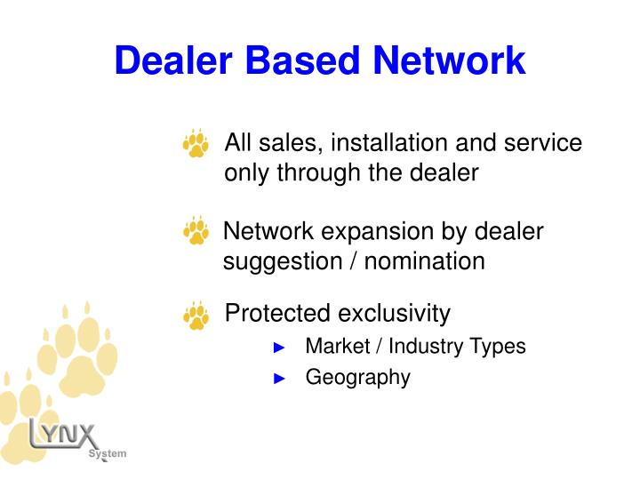 All sales, installation and service only through the dealer