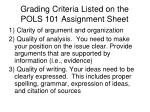 grading criteria listed on the pols 101 assignment sheet