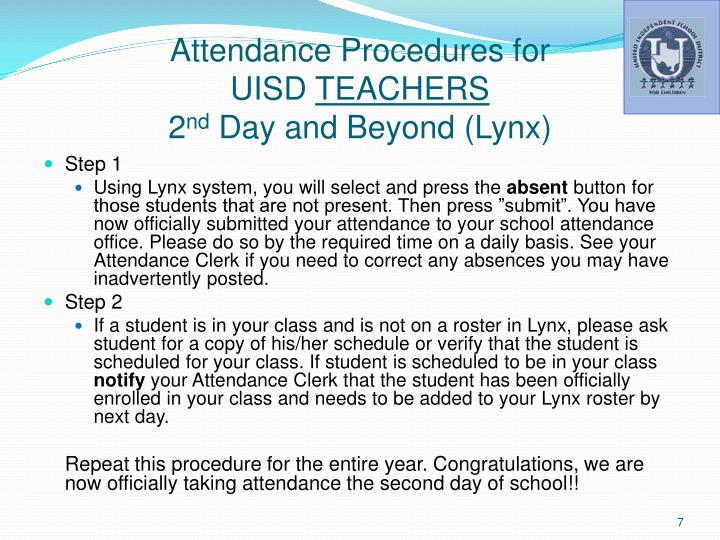 Attendance Procedures for