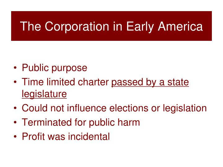 The Corporation in Early America