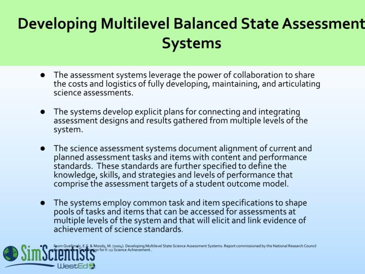 Developing Multilevel Balanced State Assessment Systems