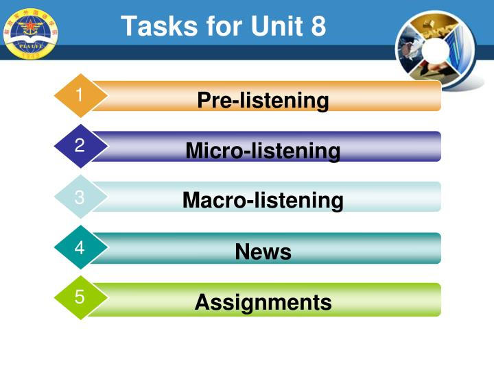 Tasks for unit 8