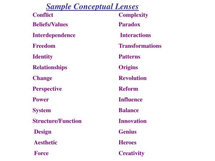 Sample Conceptual Lenses