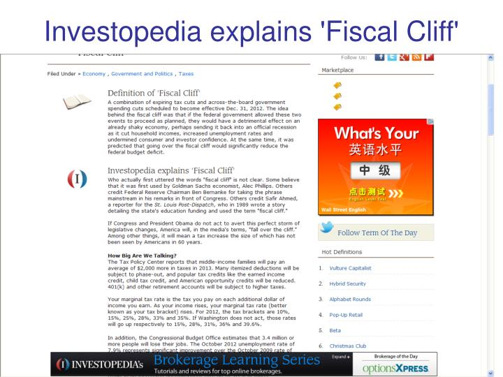 Investopedia explains 'Fiscal Cliff'