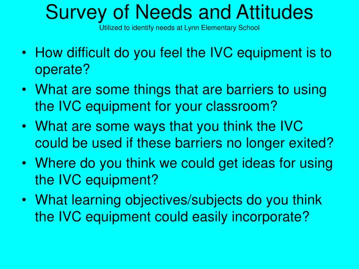 Survey of Needs and Attitudes
