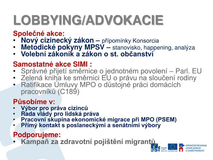 LOBBYING/ADVOKACIE