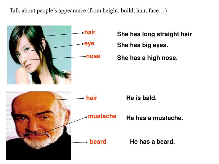 Talk about people's appearance (from height, build, hair, face…)