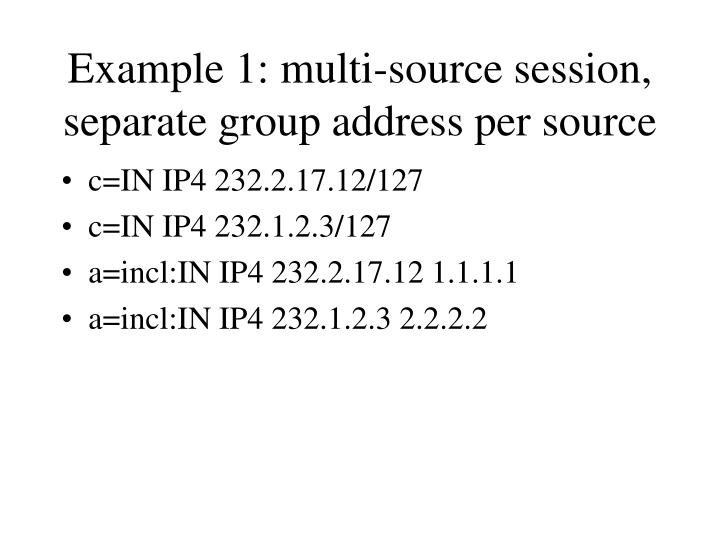 Example 1: multi-source session, separate group address per source
