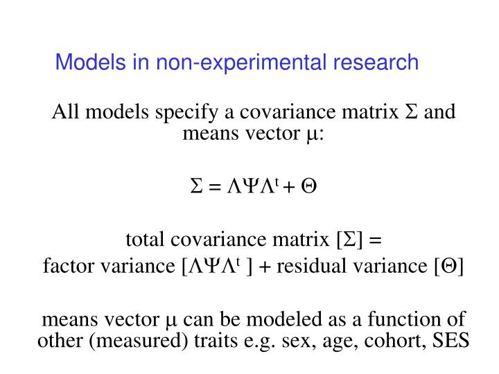 Models in non-experimental research