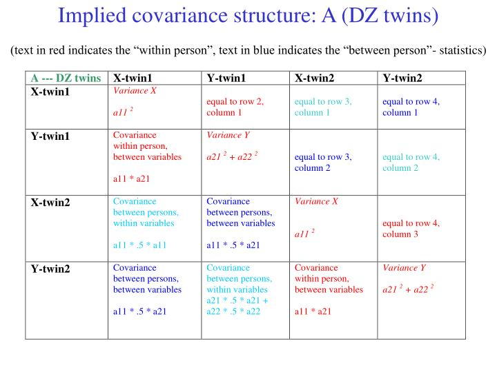 Implied covariance structure: A (DZ twins)