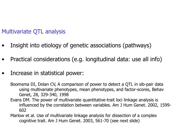 Multivariate QTL analysis