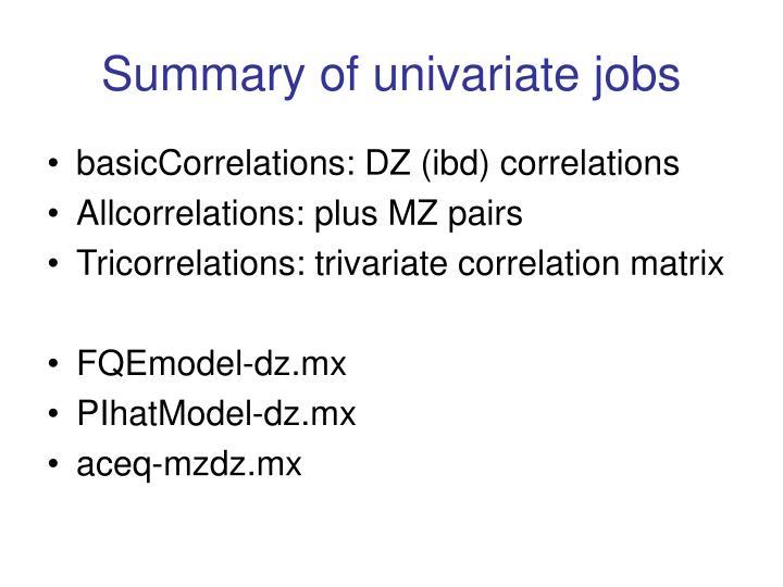 Summary of univariate jobs