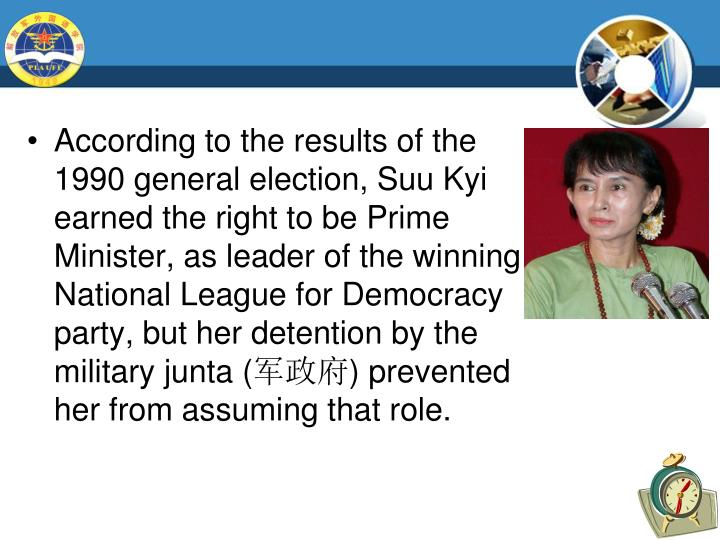 According to the results of the 1990 general election, Suu Kyi earned the right to be Prime Minister, as leader of the winning National League for Democracy party, but her detention by the military junta (