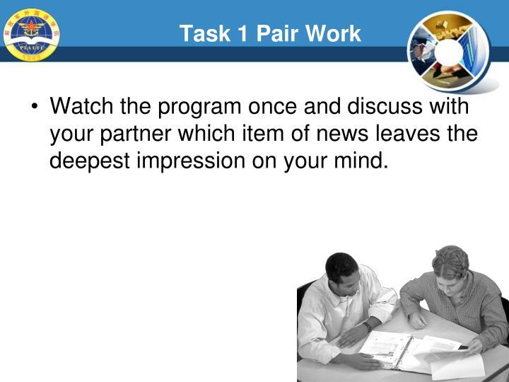 Task 1 Pair Work