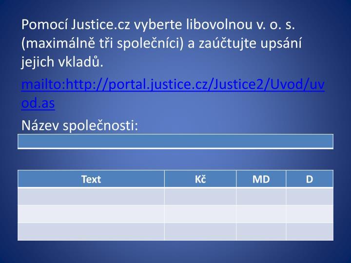 Pomocí Justice.cz vyberte libovolnou v. o. s.  (maximálně tři společníci) a zaúčtujte upsání jejich vkladů.