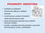 povinnosti inspektora