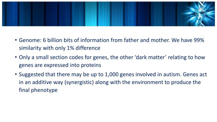 Genome: 6 billion bits of information from father and mother. We have 99% similarity with only 1% di...