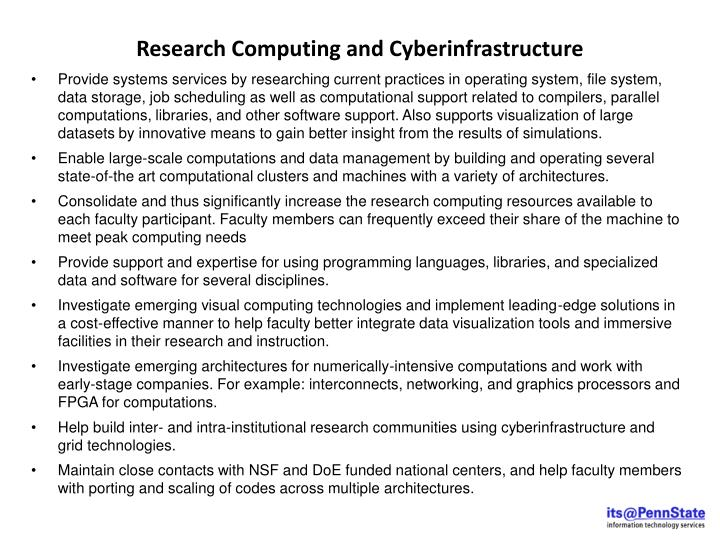 Research Computing and Cyberinfrastructure