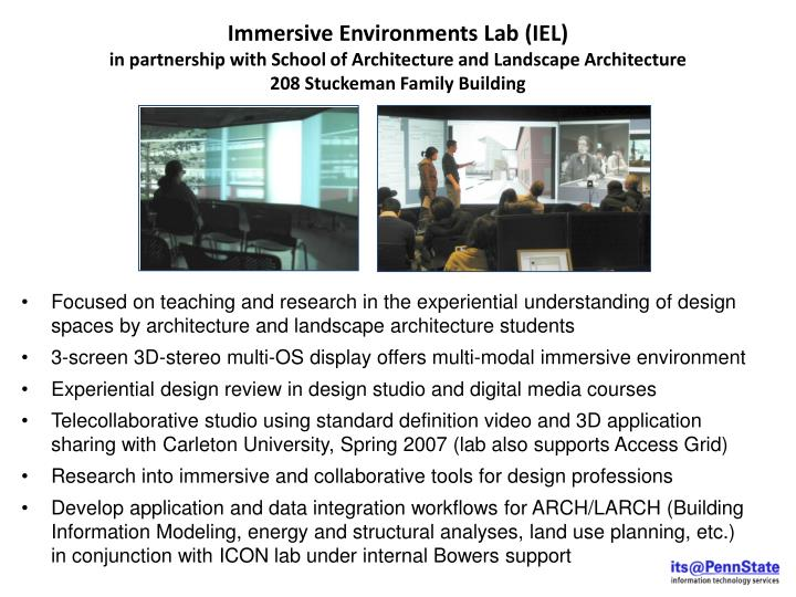 Immersive Environments Lab (IEL)