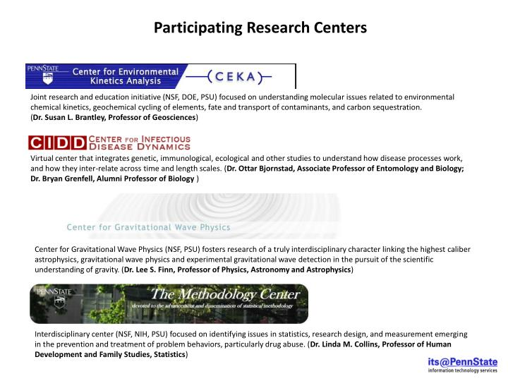 Participating Research Centers