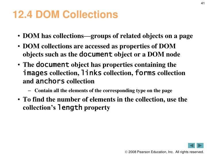 12.4 DOM Collections