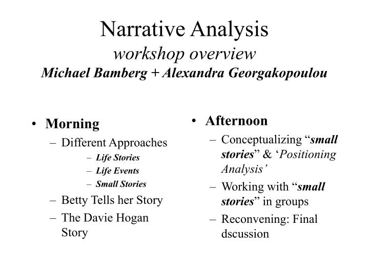 analysis narrative and story essay A narrative essay uses all the story elements - a beginning, middle and ending, plot, characters, setting and climax - all coming together to complete the story essential elements of narrative essays the focus of a narrative essay is the plot, which is told using enough details to build to a climax.