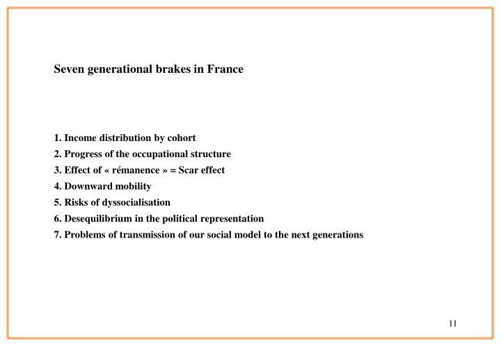 Seven generational brakes in France