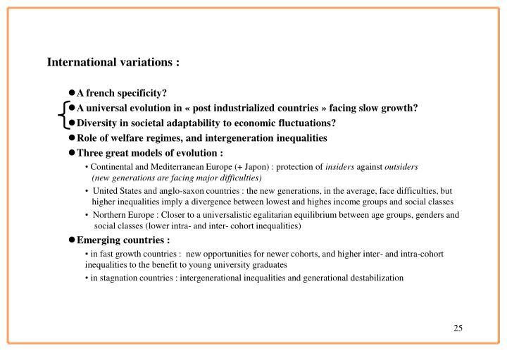 International variations :