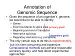 annotation of genomic sequence