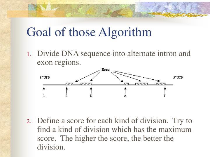 Goal of those Algorithm