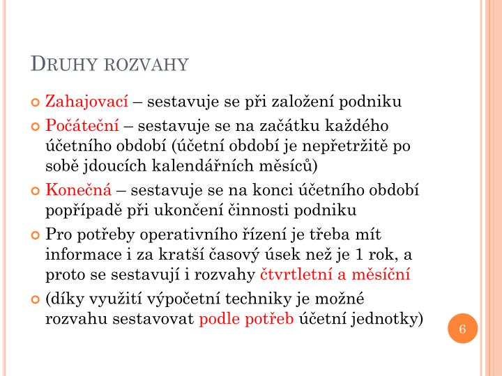 Druhy rozvahy