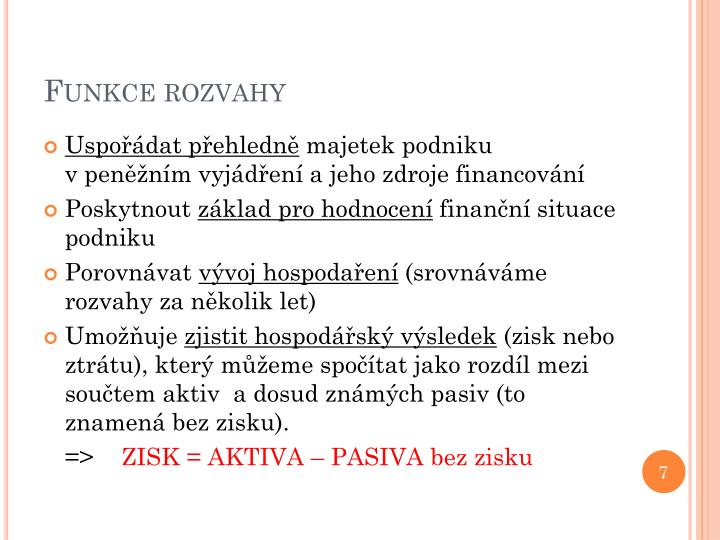 Funkce rozvahy