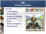 700 arts and recreation