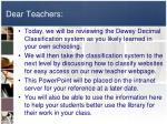 dear teachers