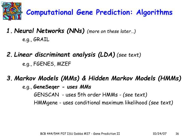 Computational Gene Prediction: Algorithms