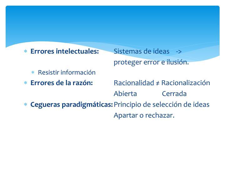 Errores intelectuales: