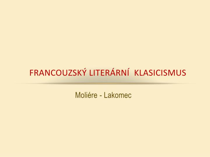 Francouzsk liter rn klasicismus