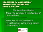 procedure for admission of members and duration of qualification