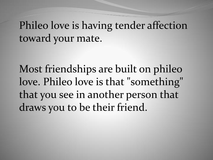 Phileo love is having tender affection toward your mate.