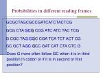 probabilities in different reading frames