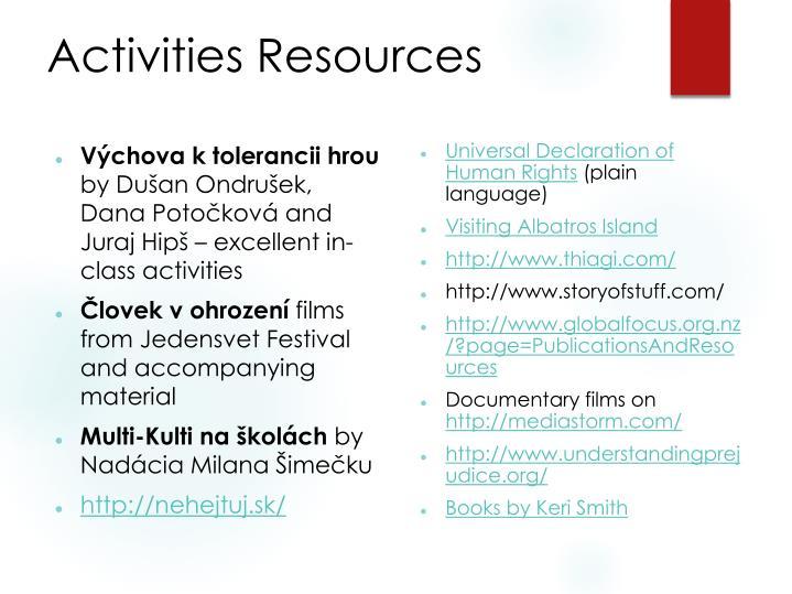 Activities Resources